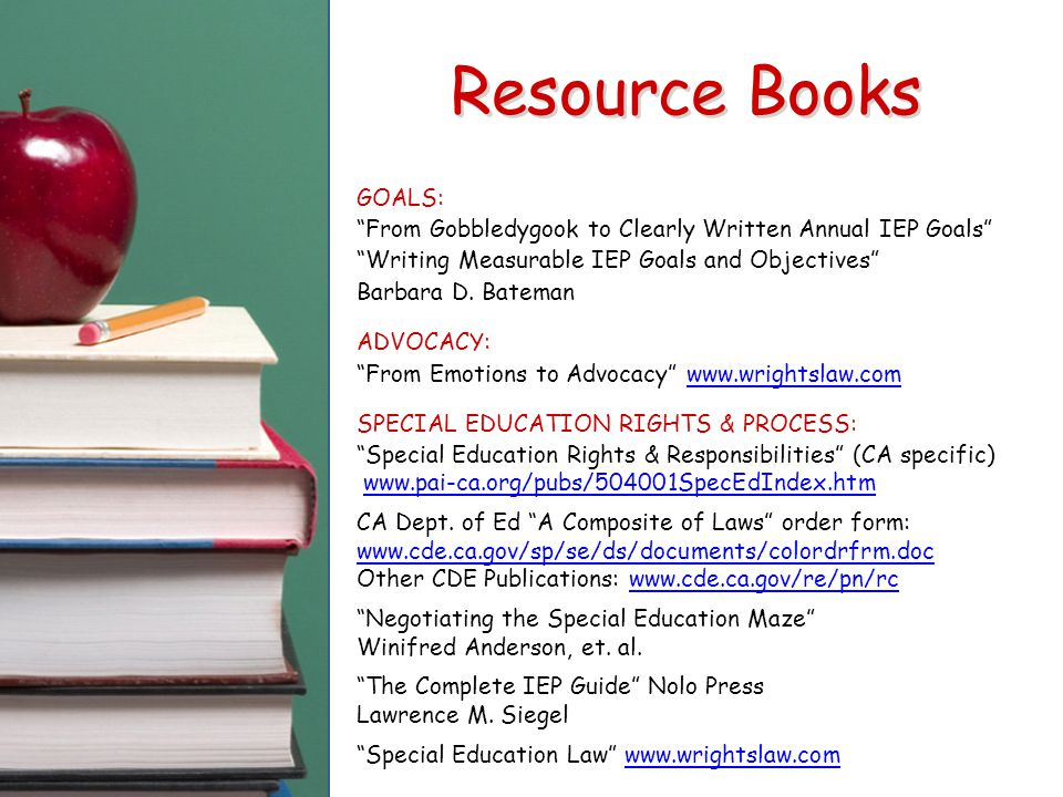 Resource Books GOALS: From Gobbledygook to Clearly Written Annual IEP Goals Writing Measurable IEP Goals and Objectives