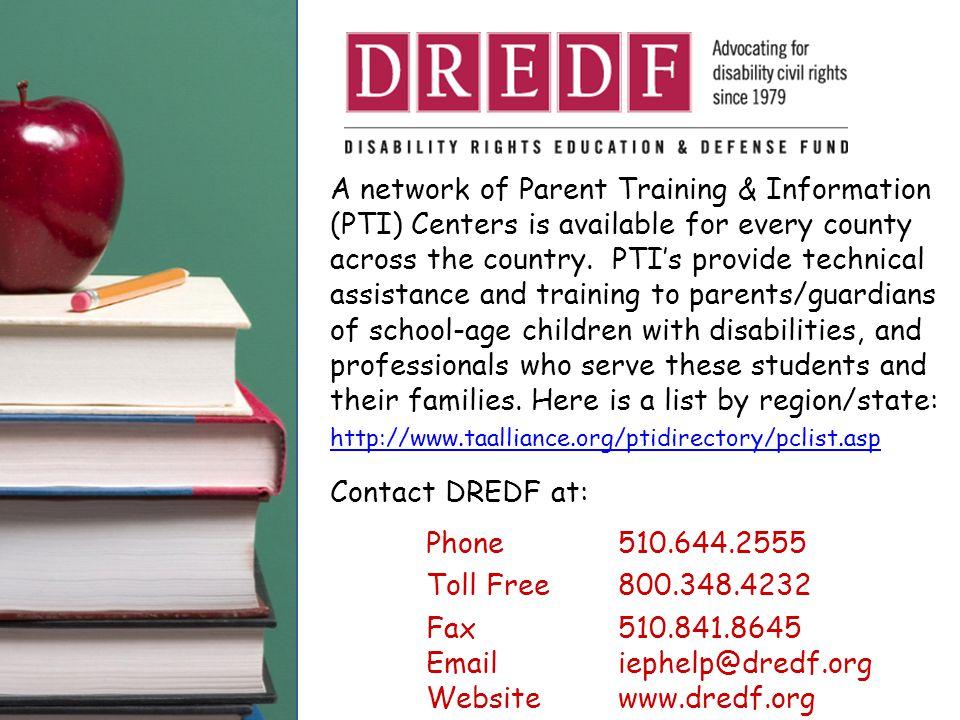 Fax 510.841.8645 Email iephelp@dredf.org Website www.dredf.org