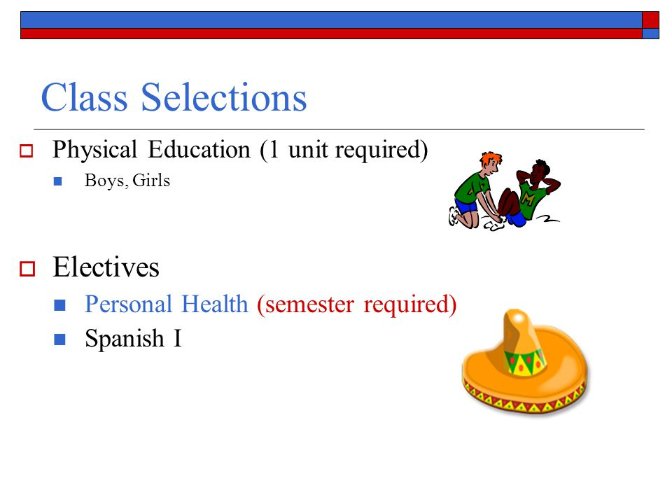 Class Selections Electives Physical Education (1 unit required)
