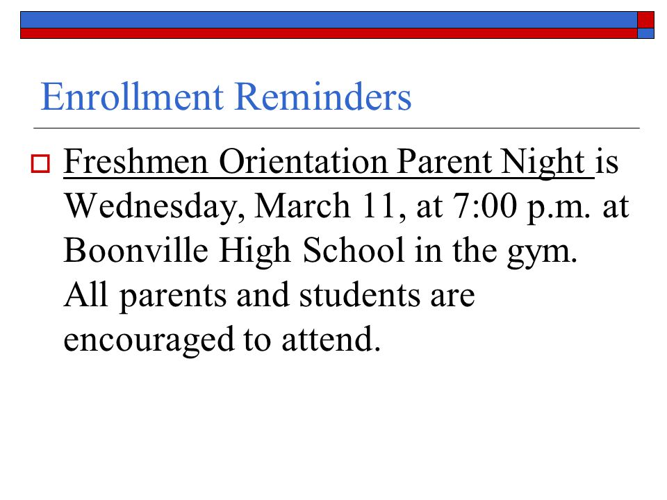 Enrollment Reminders