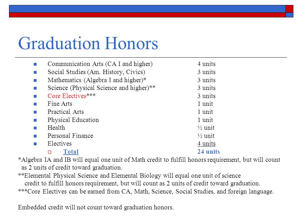 Graduation Honors Communication Arts (CA I and higher) 4 units