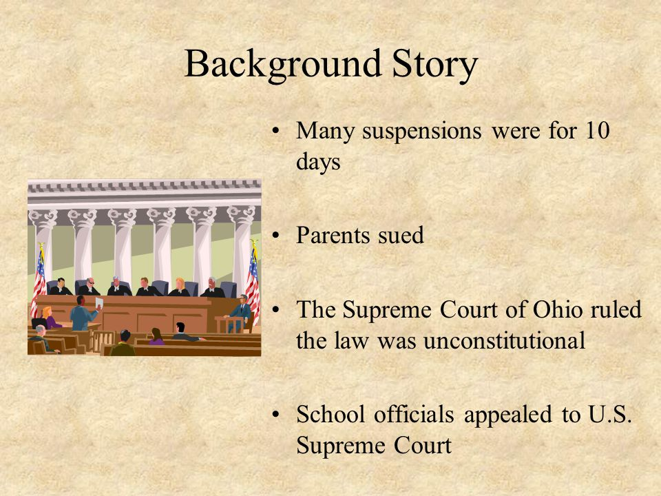 Background Story Many suspensions were for 10 days Parents sued