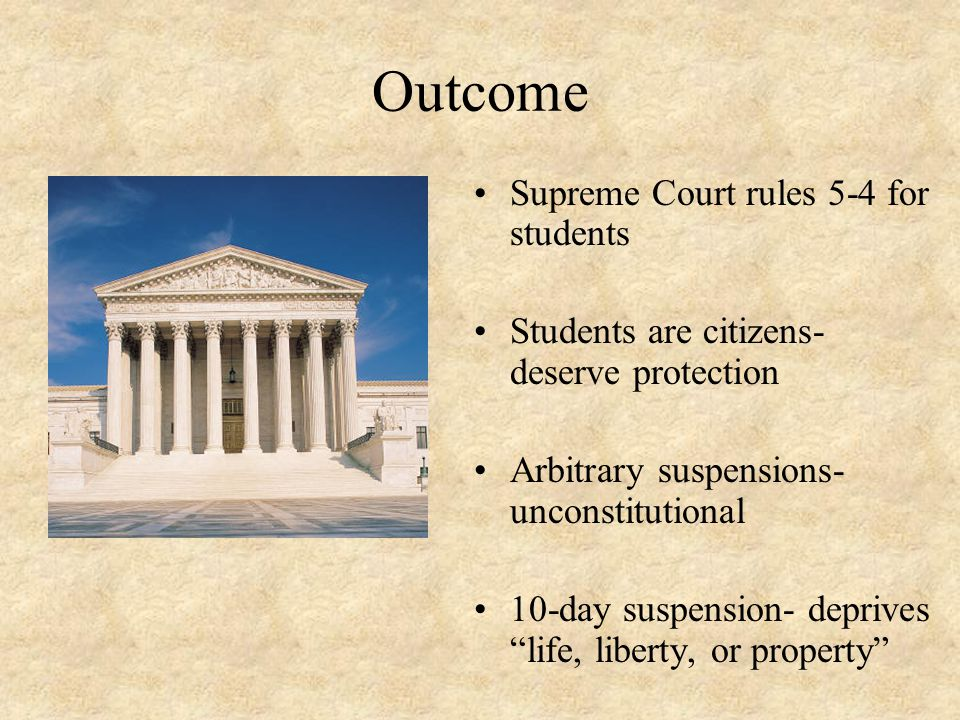 Outcome Supreme Court rules 5-4 for students