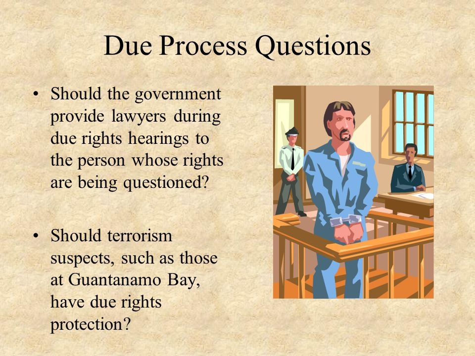 Due Process Questions Should the government provide lawyers during due rights hearings to the person whose rights are being questioned