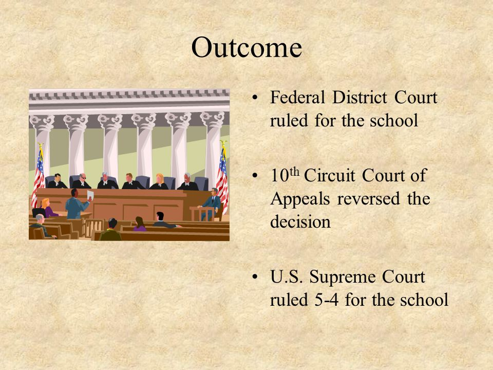 Outcome Federal District Court ruled for the school