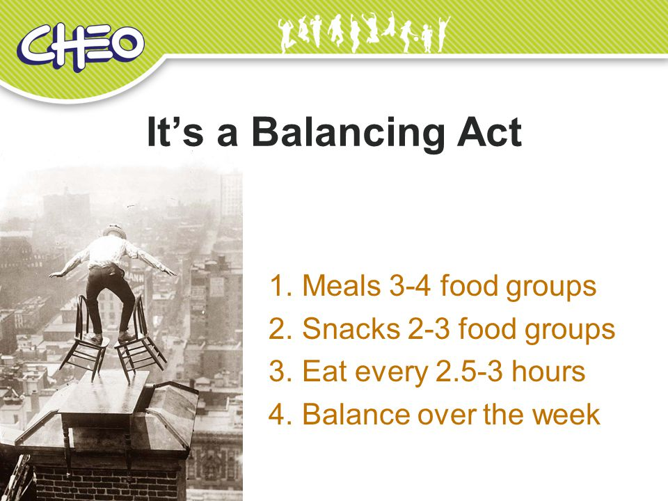 It's a Balancing Act Meals 3-4 food groups Snacks 2-3 food groups