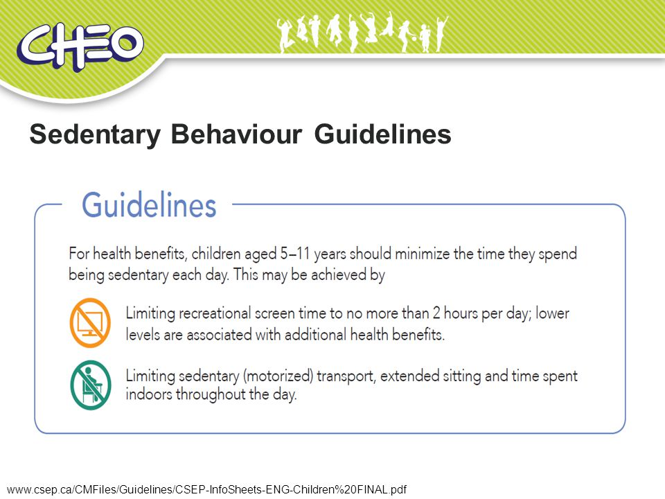 Sedentary Behaviour Guidelines