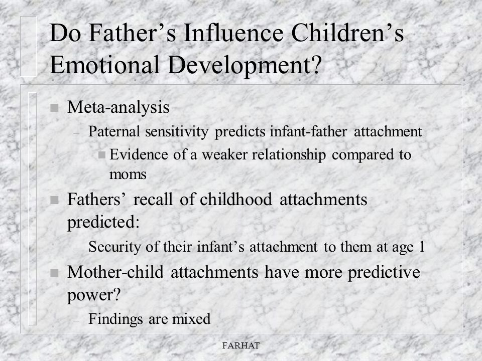 Do Father's Influence Children's Emotional Development