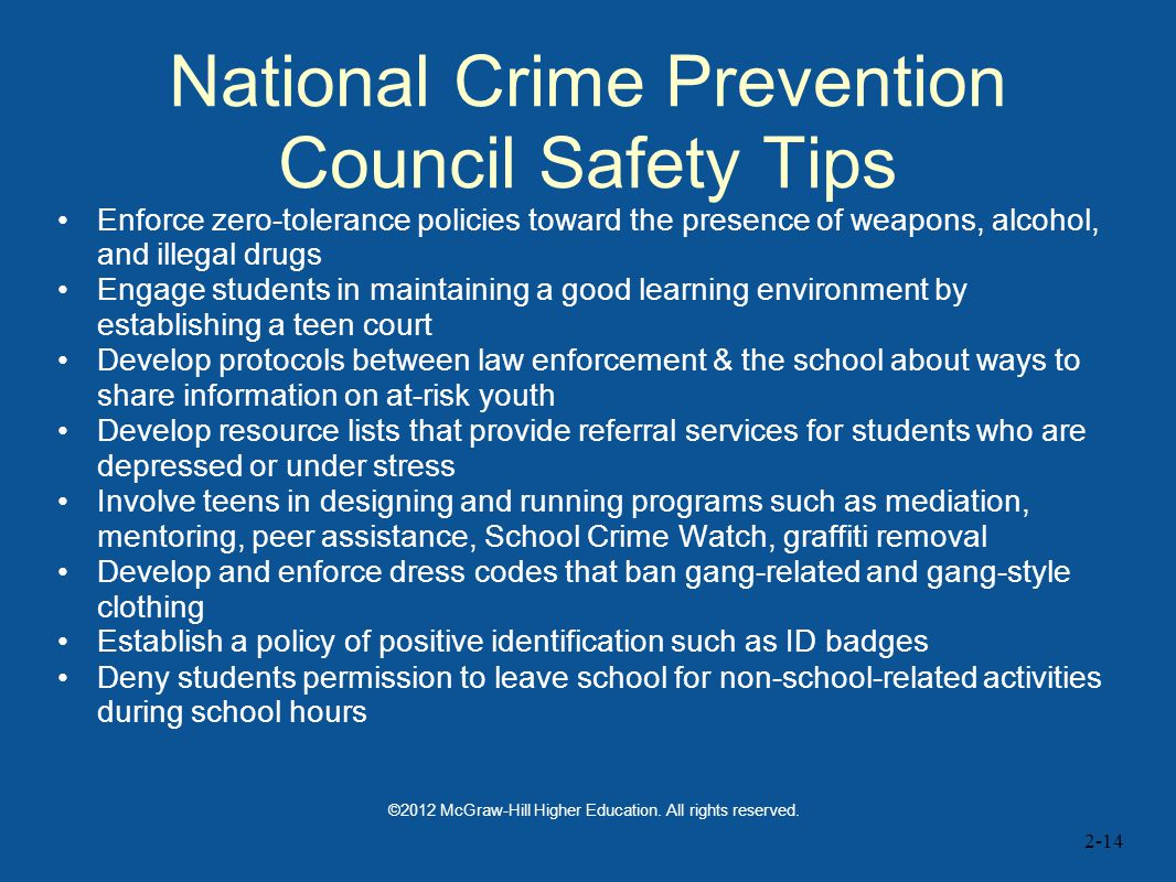 National Crime Prevention Council Safety Tips