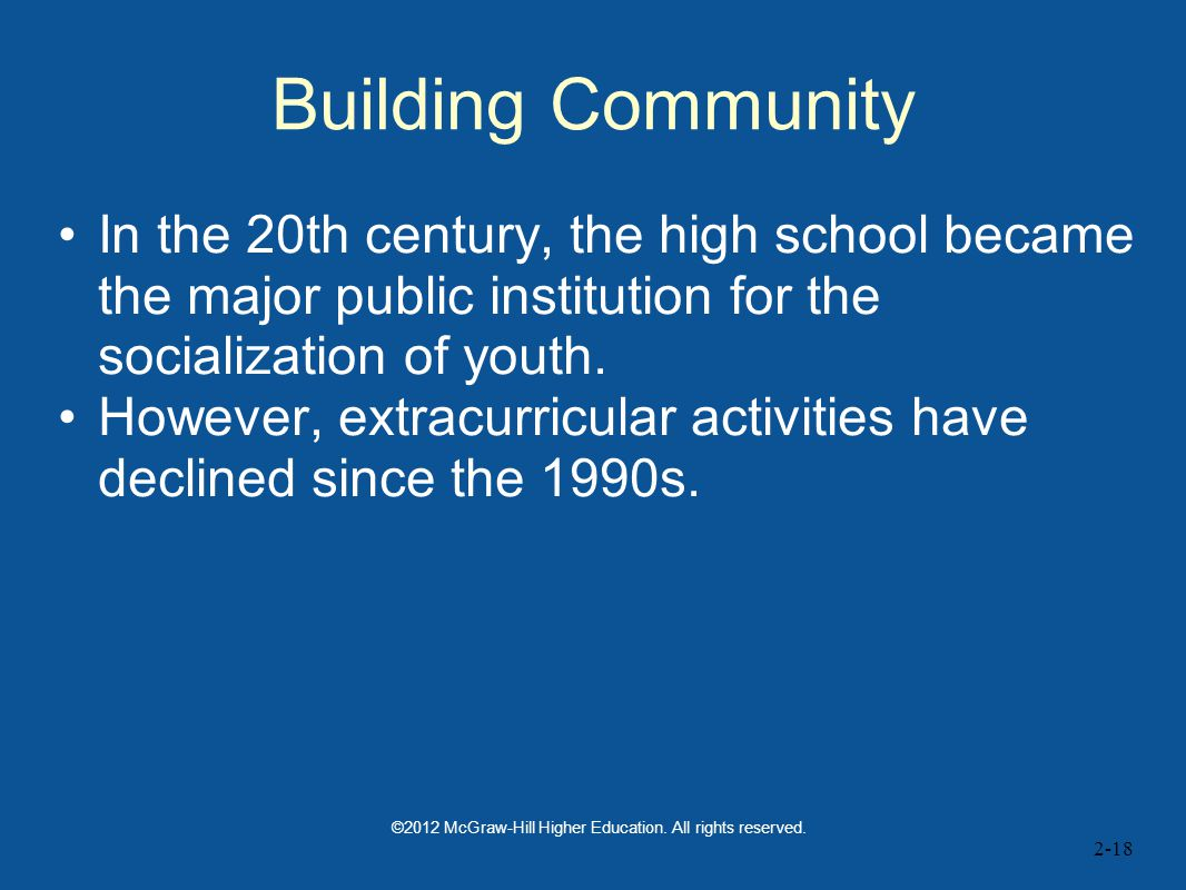 Building Community In the 20th century, the high school became the major public institution for the socialization of youth.
