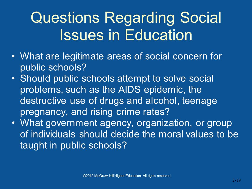 Questions Regarding Social Issues in Education
