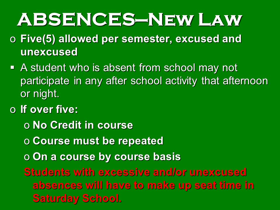 ABSENCES—New Law Five(5) allowed per semester, excused and unexcused