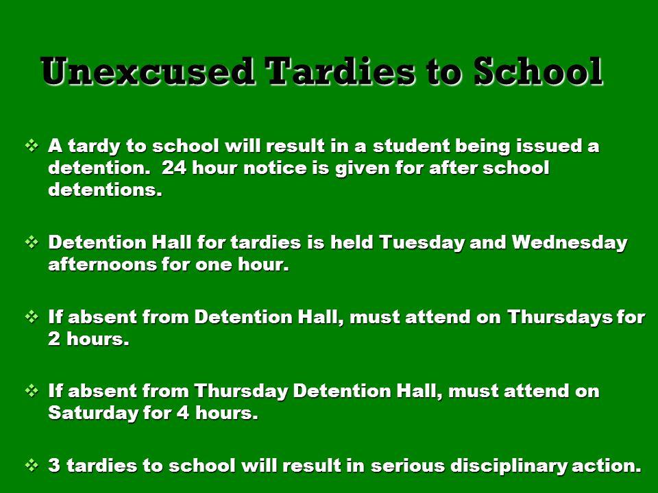 Unexcused Tardies to School