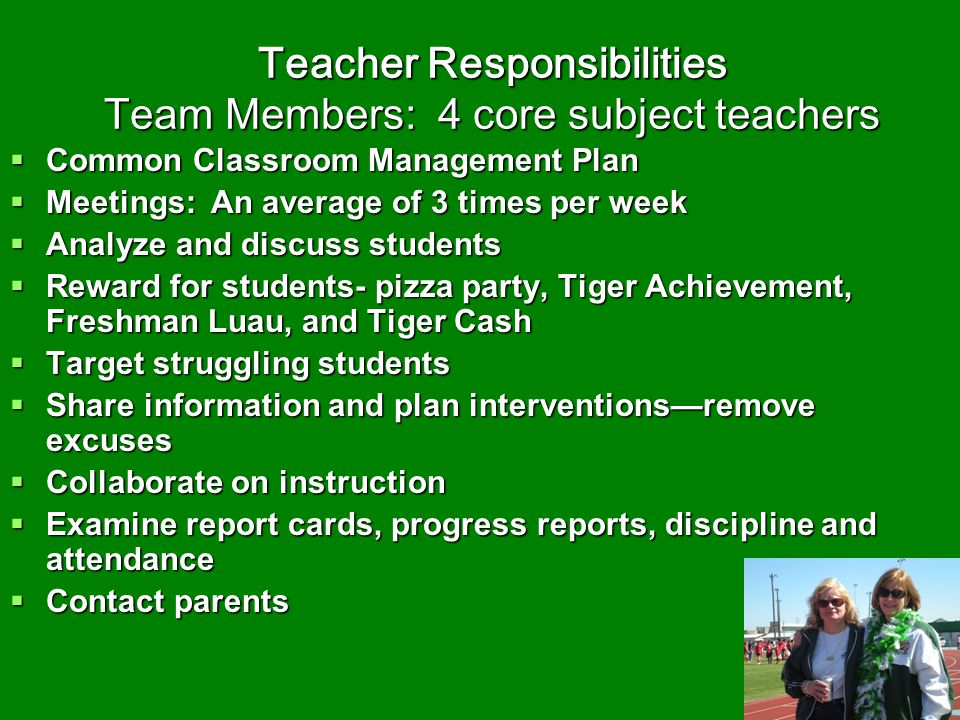 Teacher Responsibilities Team Members: 4 core subject teachers