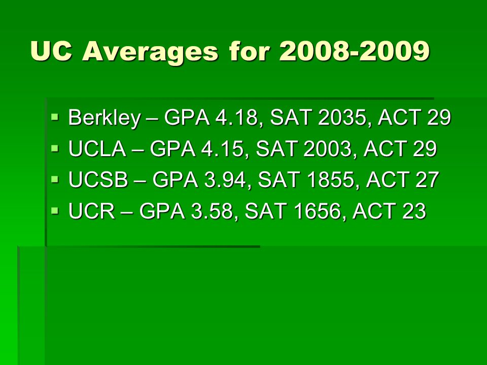 UC Averages for 2008-2009 Berkley – GPA 4.18, SAT 2035, ACT 29