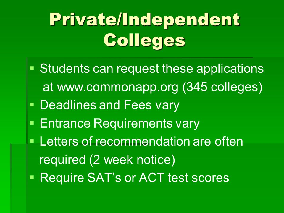 Private/Independent Colleges