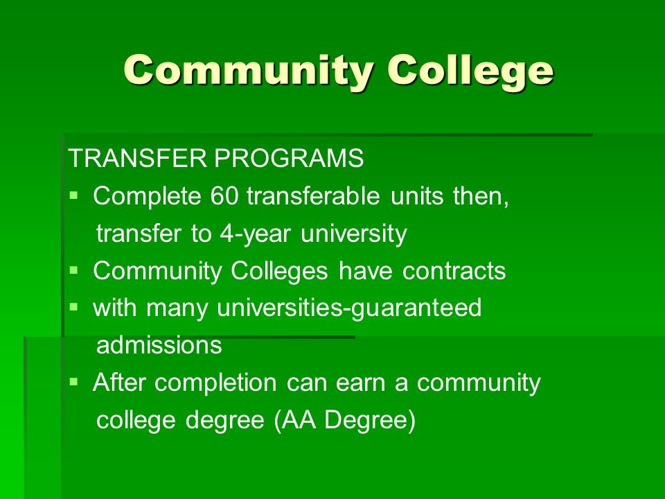 Community College TRANSFER PROGRAMS