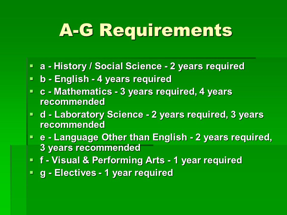 A-G Requirements a - History / Social Science - 2 years required