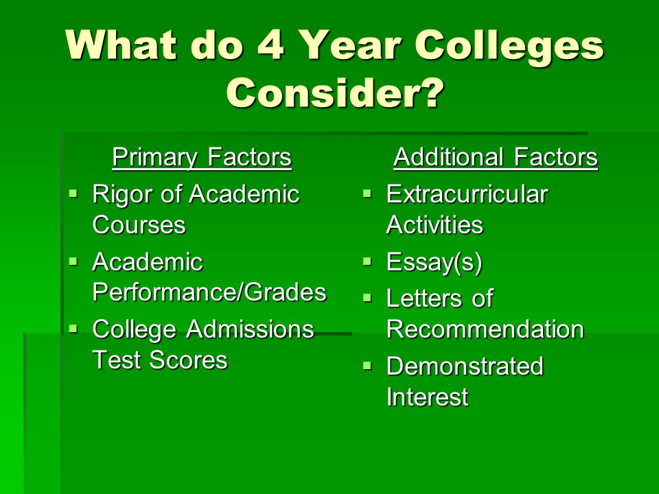 What do 4 Year Colleges Consider