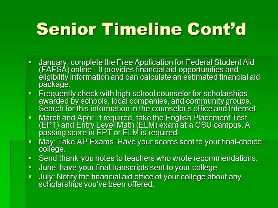 Senior Timeline Cont'd