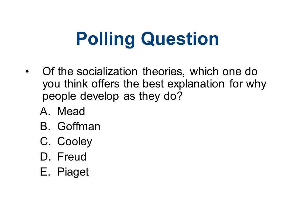 Polling Question Of the socialization theories, which one do you think offers the best explanation for why people develop as they do