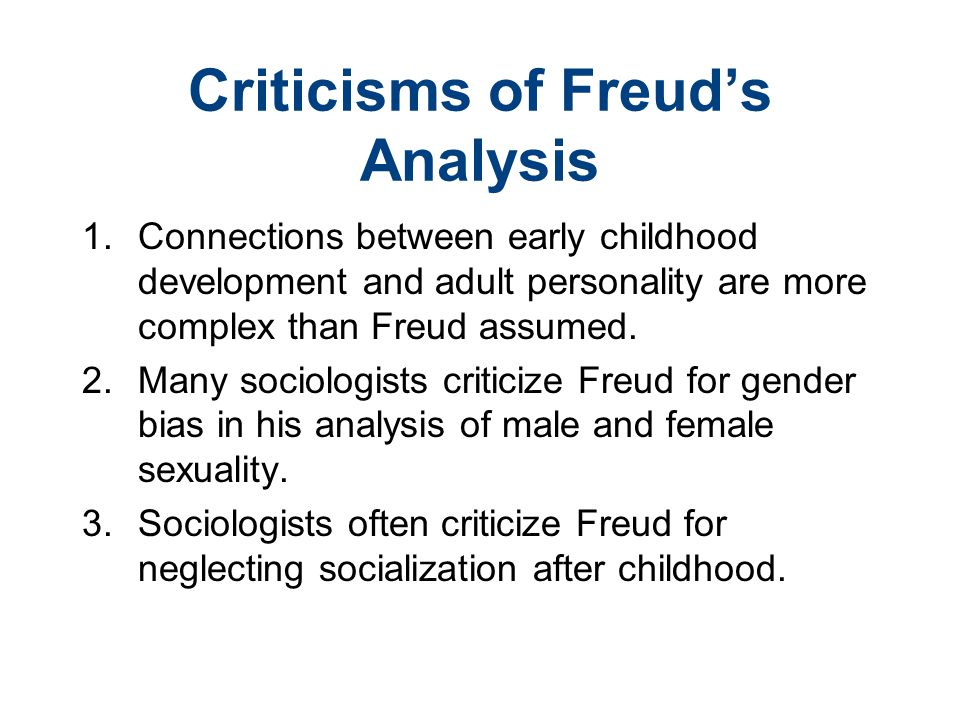 Criticisms of Freud's Analysis