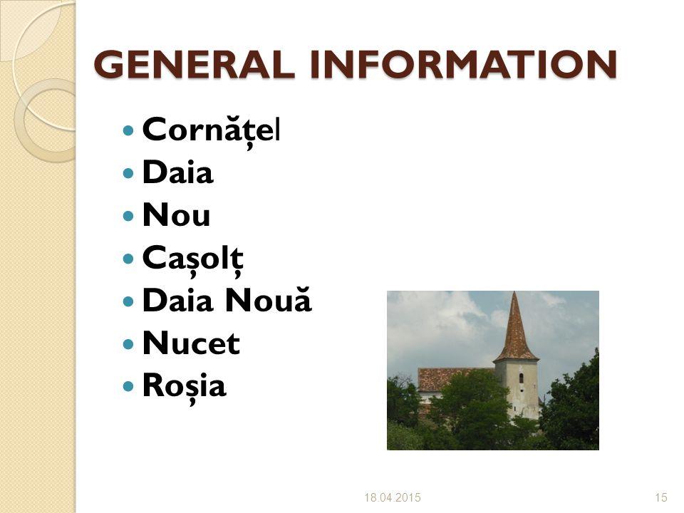 GENERAL INFORMATION Cornăţel Daia Nou Caşolţ Daia Nouă Nucet Roşia