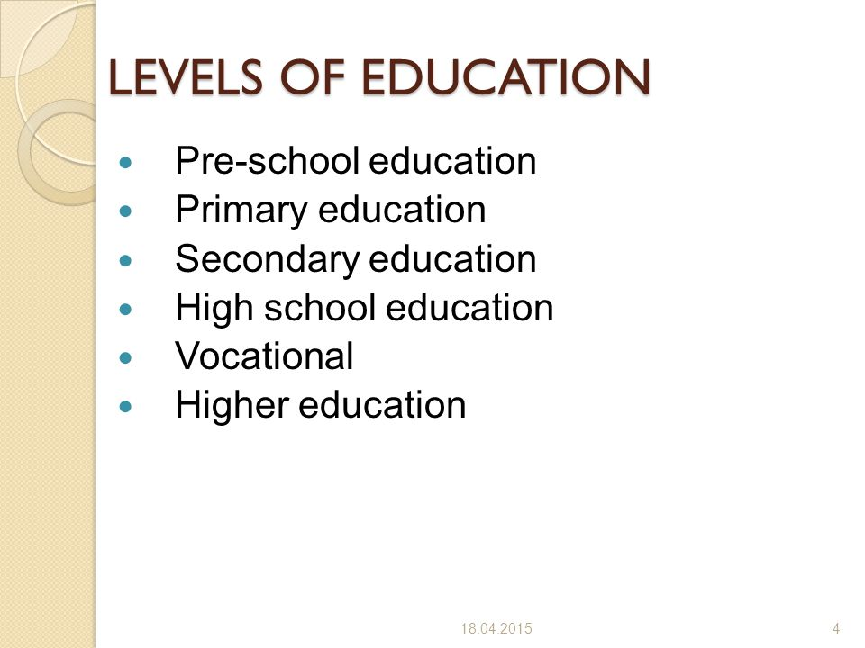 LEVELS OF EDUCATION Pre-school education Primary education