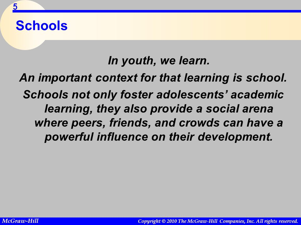 An important context for that learning is school.
