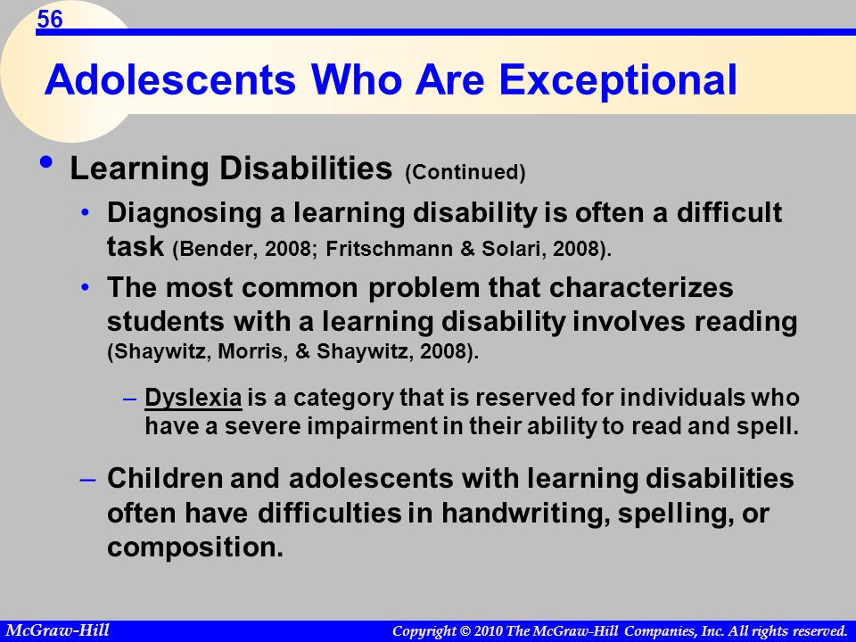 Adolescents Who Are Exceptional