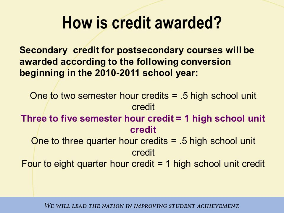 Three to five semester hour credit = 1 high school unit credit