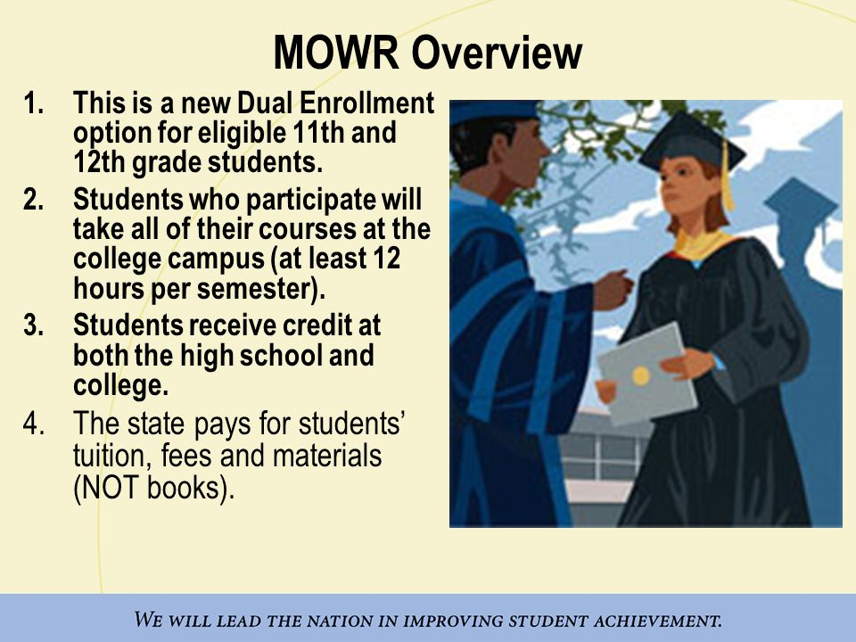 MOWR Overview This is a new Dual Enrollment option for eligible 11th and 12th grade students.