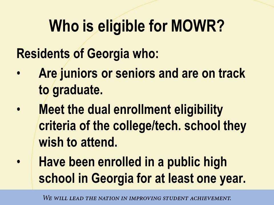Who is eligible for MOWR