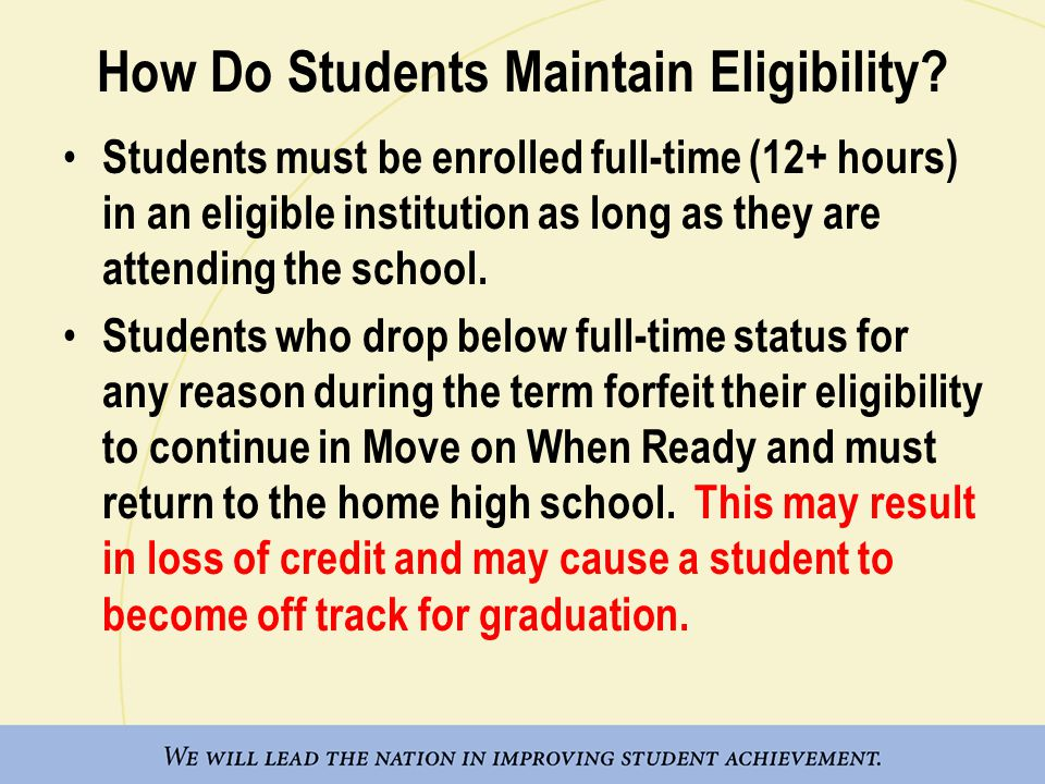 How Do Students Maintain Eligibility