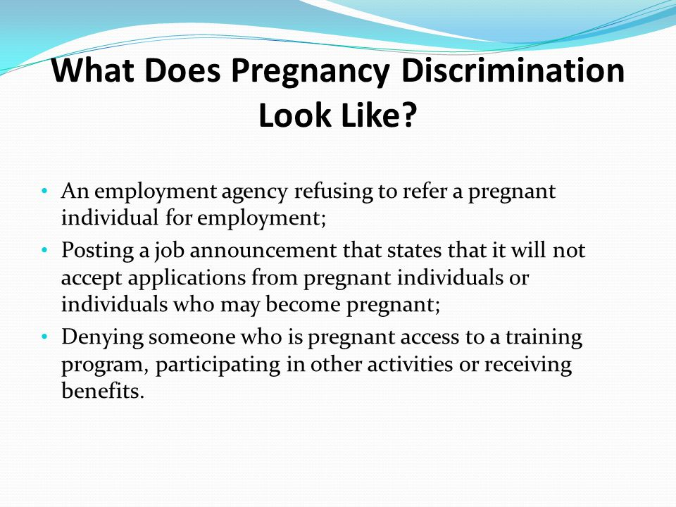 What Does Pregnancy Discrimination Look Like