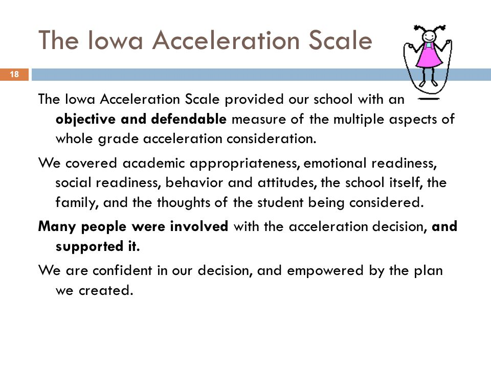 The Iowa Acceleration Scale