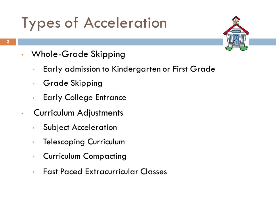 Types of Acceleration Whole-Grade Skipping Curriculum Adjustments