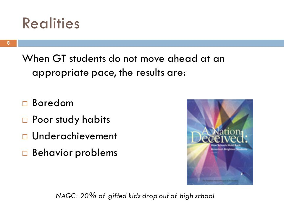 NAGC: 20% of gifted kids drop out of high school