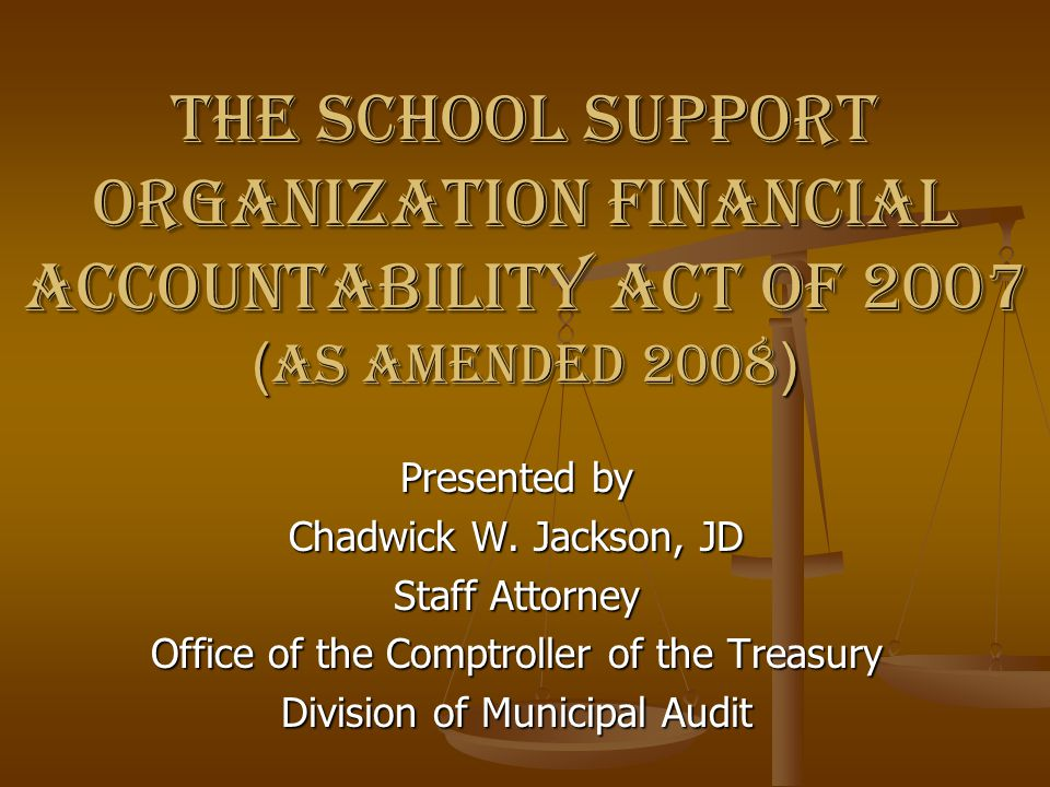 The School Support Organization Financial Accountability Act of 2007 (as amended 2008)
