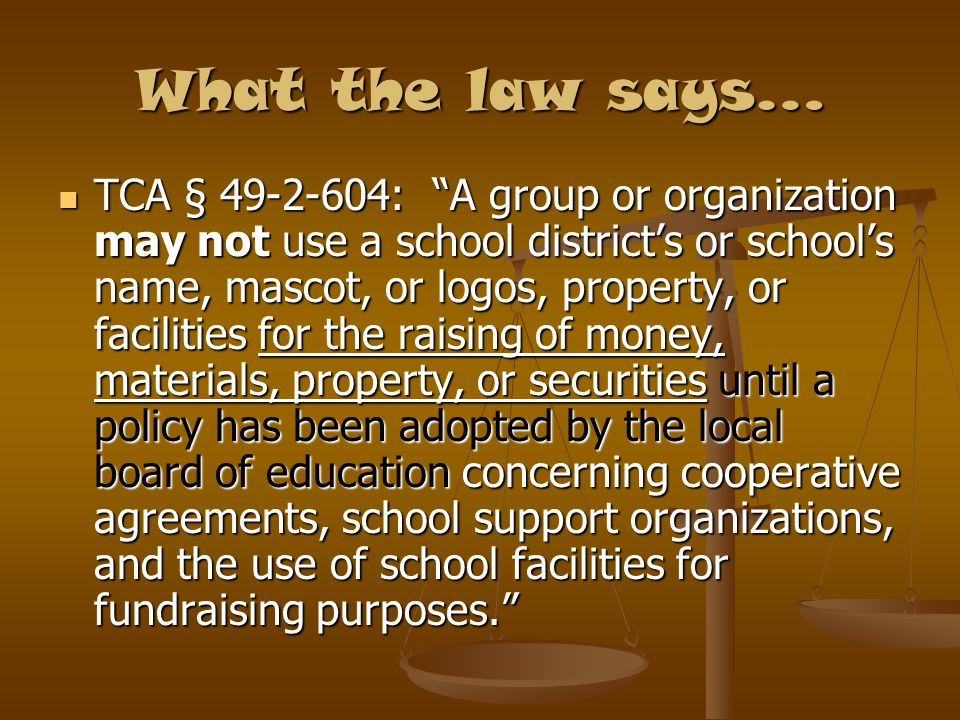 What the law says…