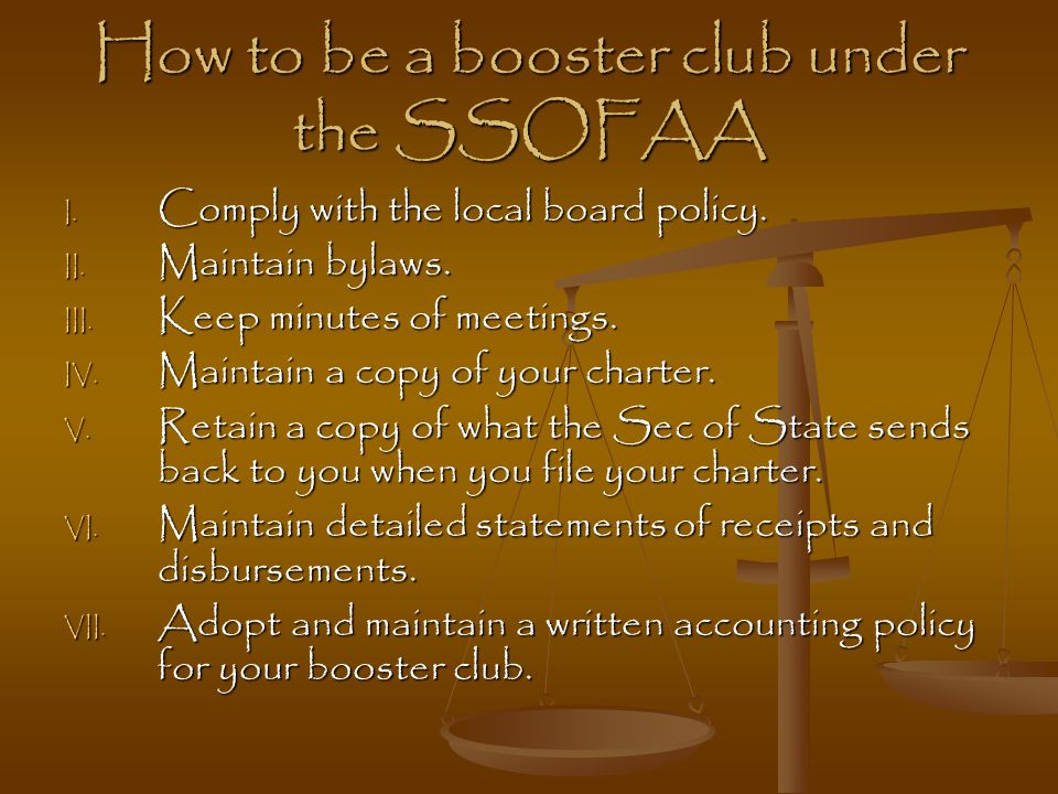 How to be a booster club under the SSOFAA