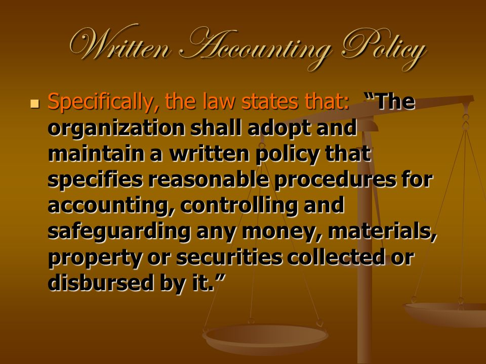 Written Accounting Policy