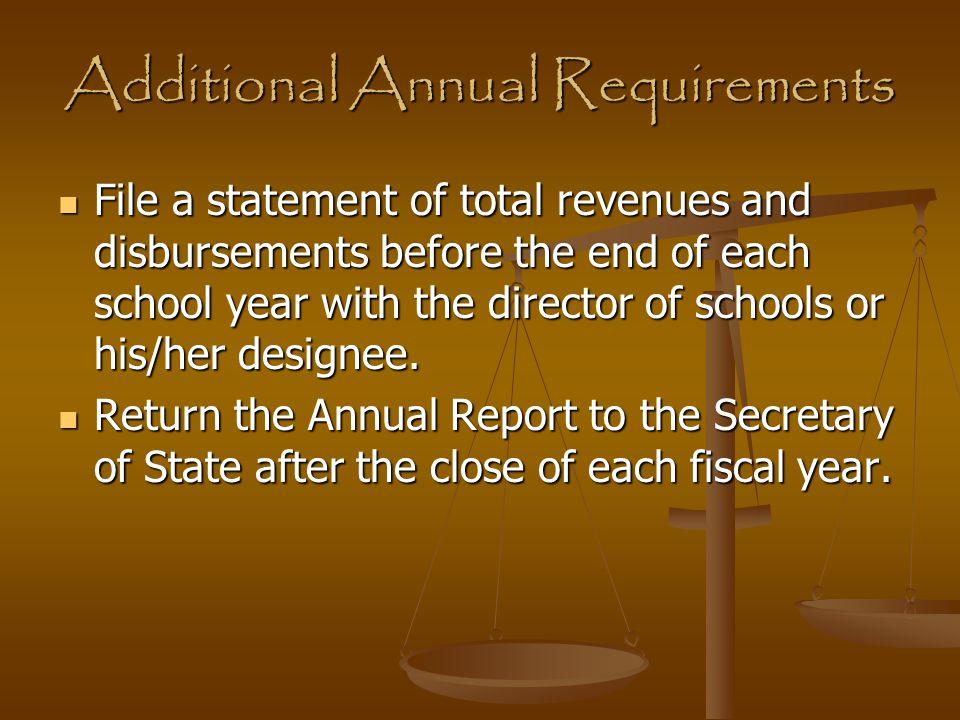 Additional Annual Requirements