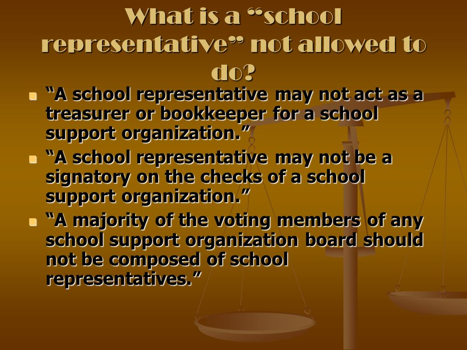 What is a school representative not allowed to do