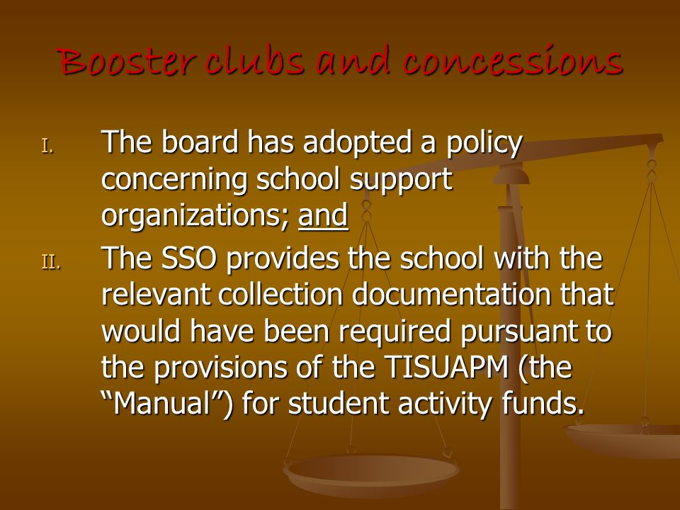 Booster clubs and concessions