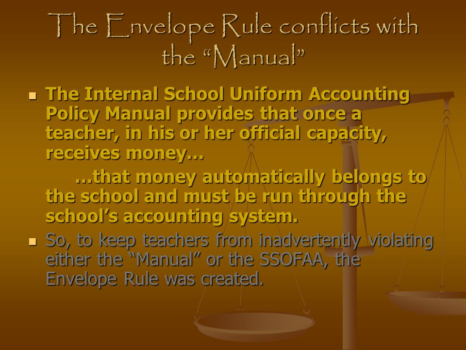 The Envelope Rule conflicts with the Manual