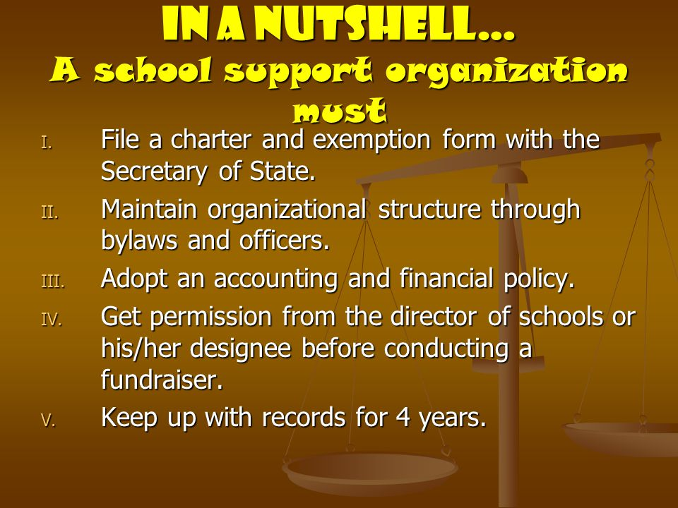 In a Nutshell… A school support organization must