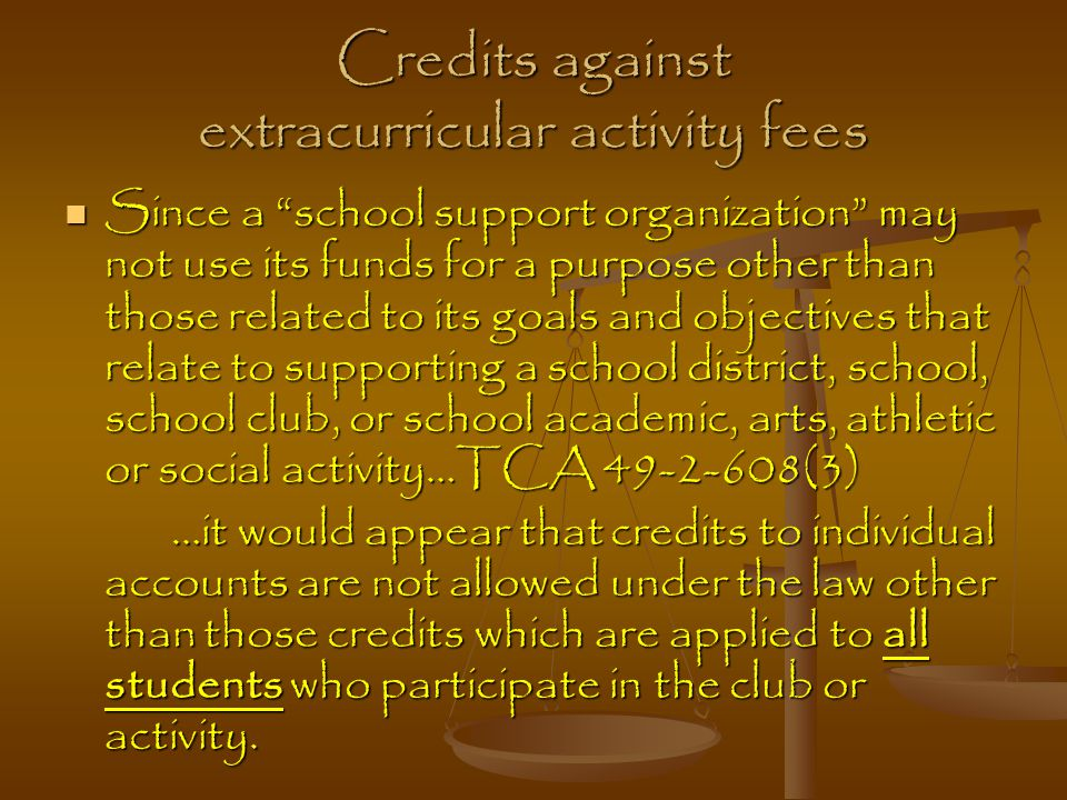 Credits against extracurricular activity fees