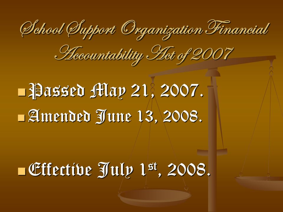 School Support Organization Financial Accountability Act of 2007