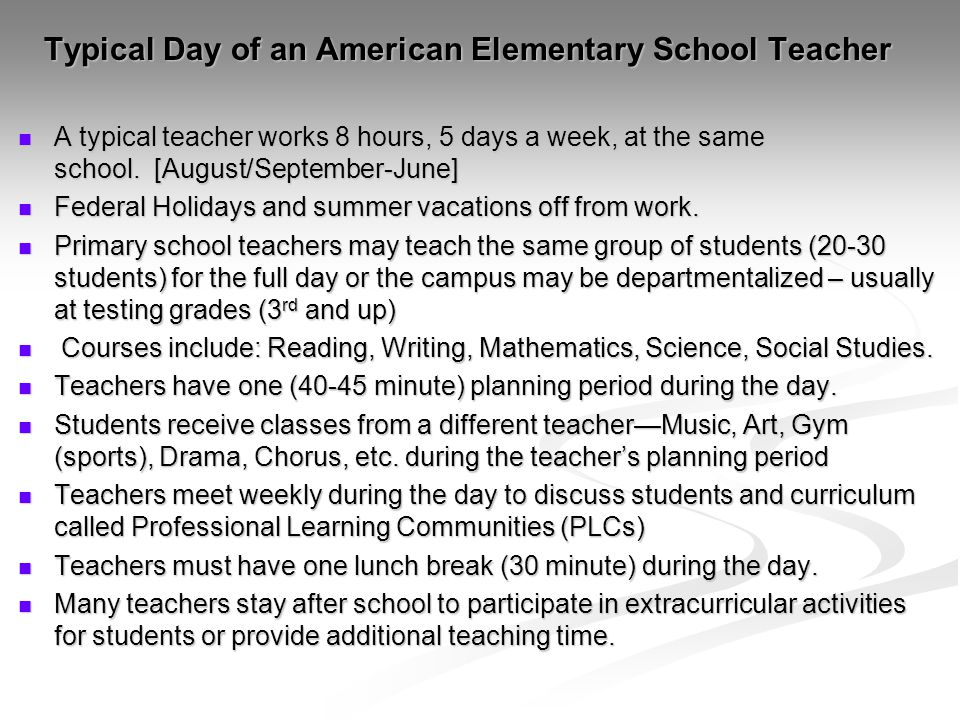 Typical Day of an American Elementary School Teacher